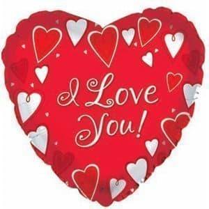 Воздушный шар I love youВоздушные шарики<br>Воздушный шар в форме сердца красного цвета с надписью I love you (Я люблю тебя). Диаметр шарика 50 см. Материал - прочная фольгированная пленка, благодаря которой шар сохранит форму от одной недели до одного месяца. При надувании используется только гели...<br>