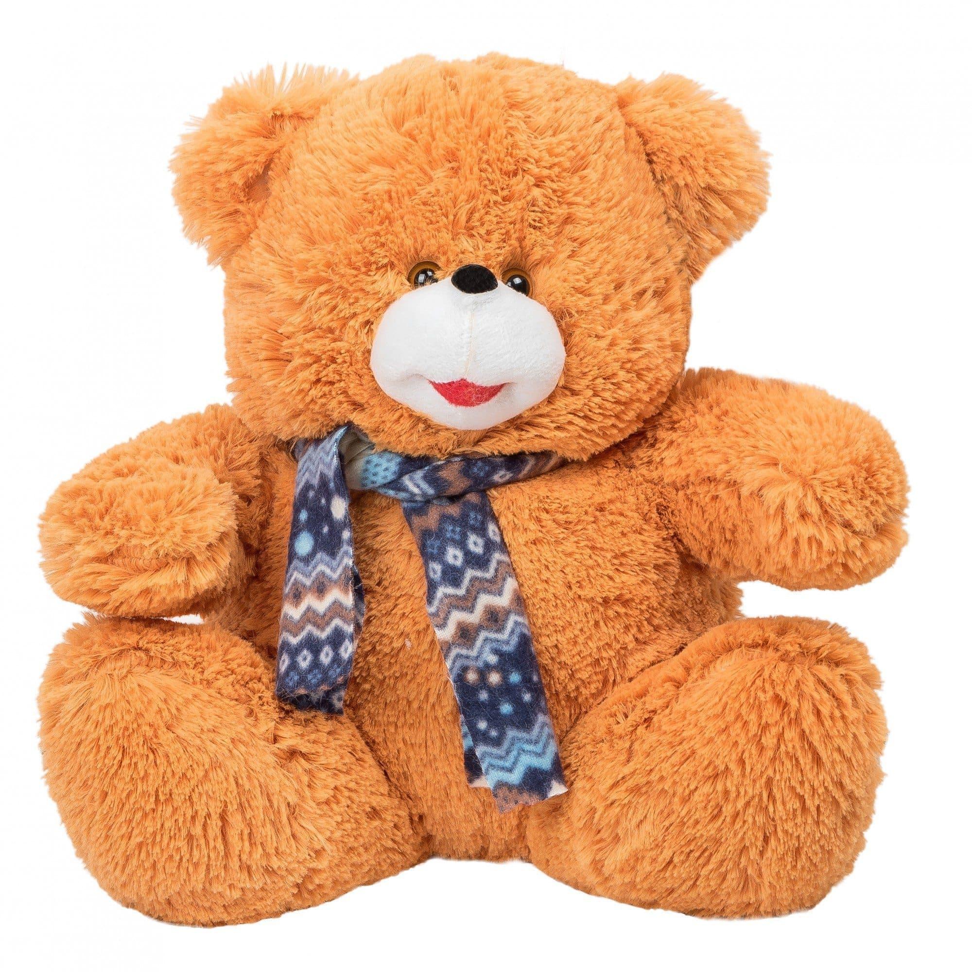 Маленький мишка 35 смИгрушки<br>Полуметровый плюшевый медведь с шарфиком. Выполнен из материала оранжевого цвета с длинным ворсом. Мишка очень мягкий, и его так приятно обнимать - получатель подарка точно будет в восторге!<br><br>- Мишка изготовлен из высококачественного искусственного меха...<br>