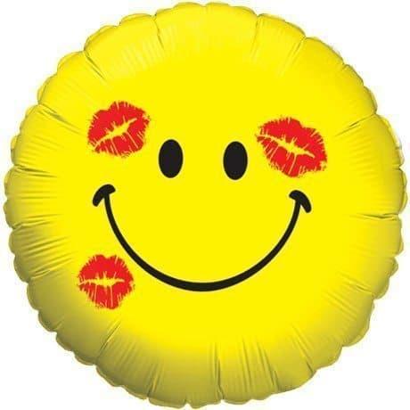 Воздушный шар круг желтый Смайл в поцелуяхВоздушные шарики<br><br>