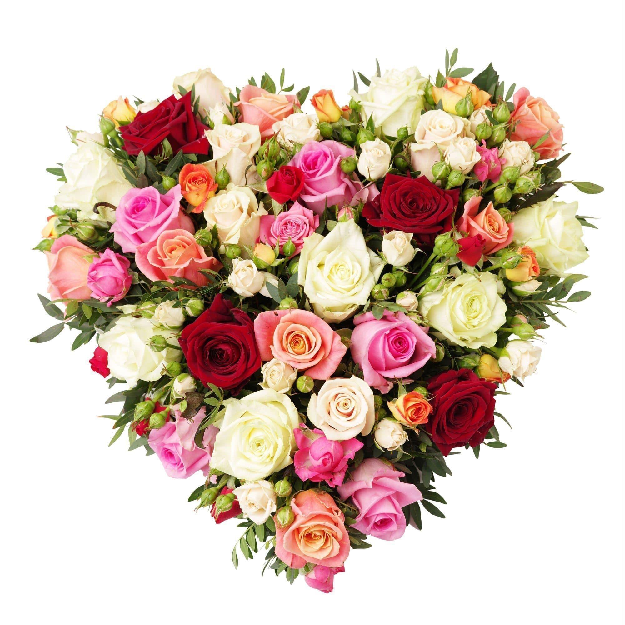 КарамельСердца<br>Композиция с самым сладким названием Карамель не навредит фигуре, а только будет радовать чудесным ароматом и идеальным сочетанием оттенков.<br><br>В состав композиции входят 33 розы:<br><br>-кремовые сорта Талея,<br>-розовые Ревиваль,<br>-красные, <br>-оранжевые...<br>