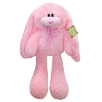 Кролик Роджер розовыйИгрушки<br>Ушастый кролик Роджер выполнен из мягкого розового материала с ворсом. Высота игрушки 55 см, вес 0,5 кг. Веселый и позитивный, Роджер всегда улыбается и носит розовый бант. Игрушка изготовлена из высококачественного искусственного меха, не линяет, не вызы...<br>
