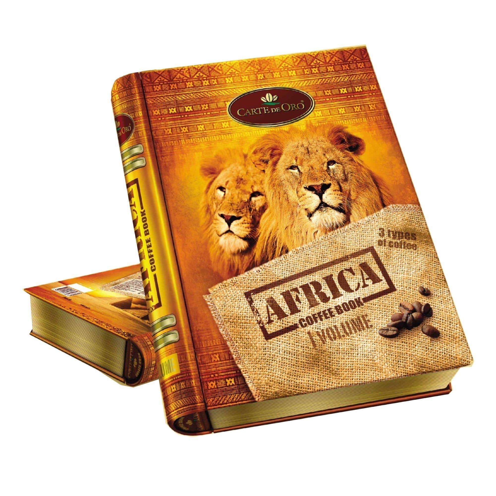 """набор натурального молотого кофе АфрикаЧай и кофе<br>Подарочный набор """"Африка"""" от Carte de Oro. В оригинальной железной шкатулке в виде книги три вида натурального молотого кофе премиальных сортов: Уганда Bugisu АА (50 г.), Зимбабве АА (50 г.) и Танзания AA Amex (50 г.).<br>"""
