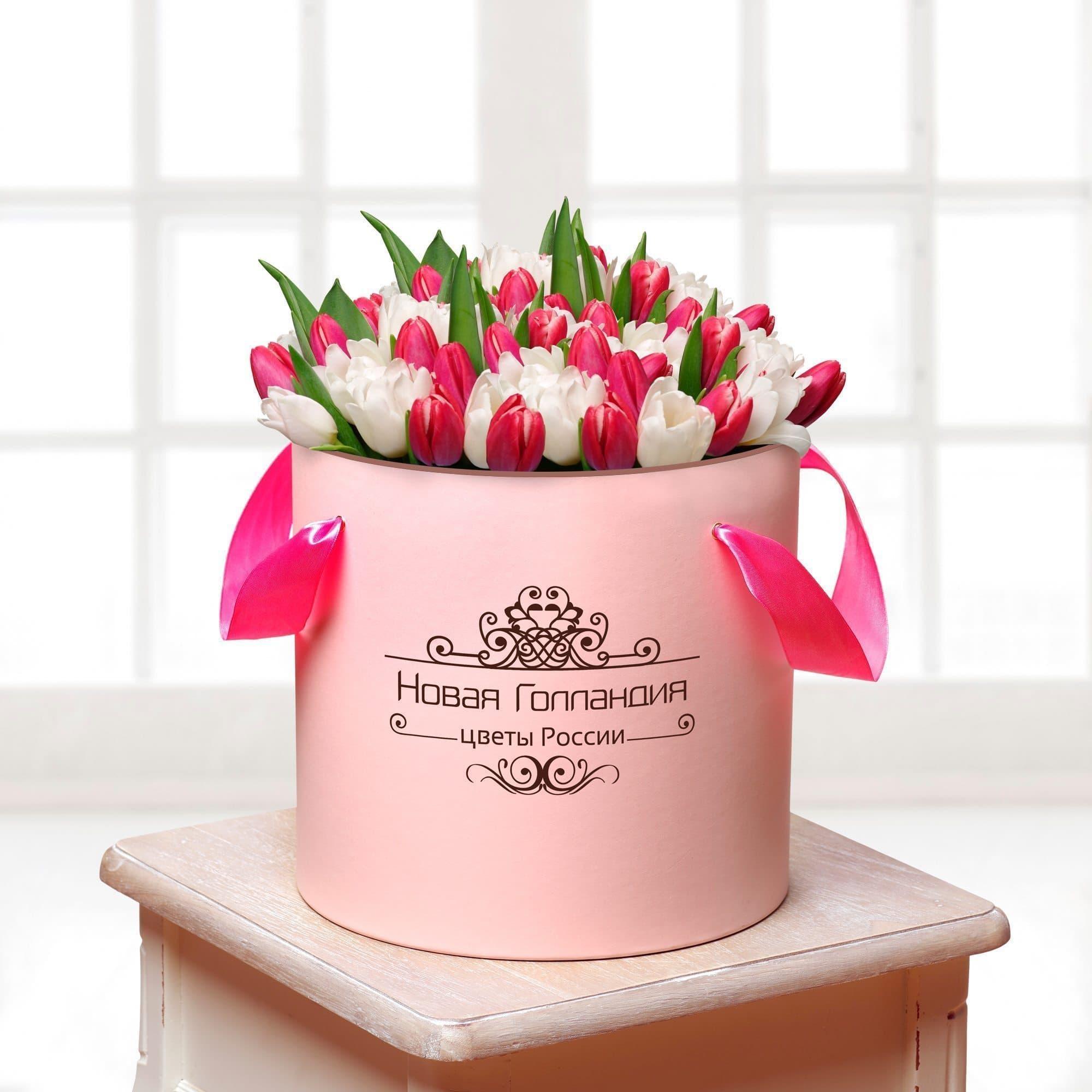 59 тюльпанов микс в розовой шляпной коробке №422Тюльпаны<br><br>