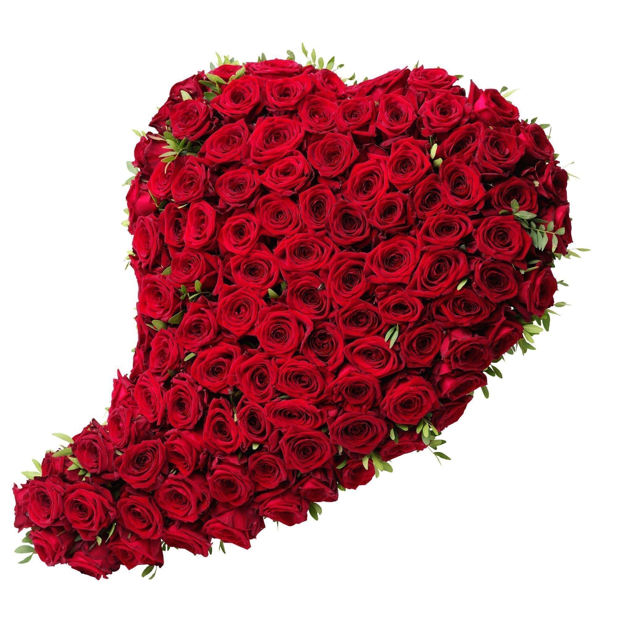 Сердце на подставкеКрасные розы<br>Подарочная композиция Сердце на подставке выполнена в форме огромного сердца, которое наполнено самыми пылкими чувствами. <br>В состав флористического шедевра вошли:<br><br>101 ароматная красная роза,<br>оазис, пропитанный водой.<br><br>Сердце декорировано фисташ...<br>