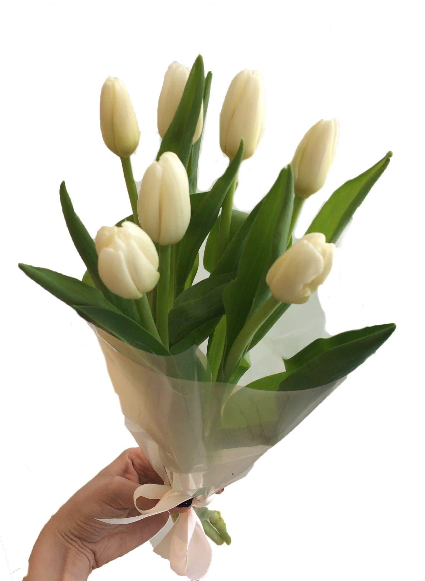 Цветов, букет из семи тюльпанов фото